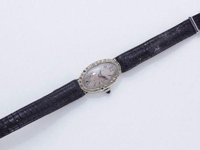 Montre bracelet de dame en or gris 750 millièmes,...