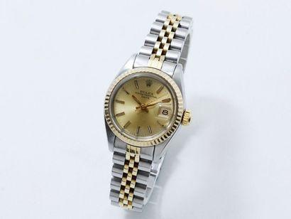 """ROLEX ''OYSTER PERPETUAL DATE"""" Montre bracelet de dame en or 585 millièmes et acier,..."""