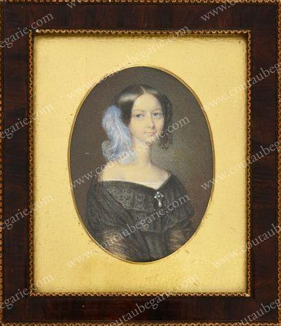 ÉCOLE FRANÇAISE DU XIXe SIÈCLE. D'APRÈS FRANÇOIS MEURET (1800-1887). Portrait de...