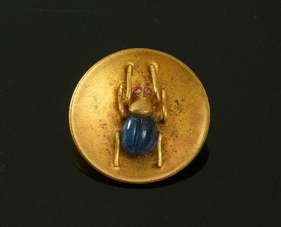 Bouton en métal et pâte de verre à motif d'insecte, attribué à la Maison Gripoix,...