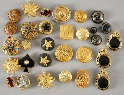 Ensemble de boutons pour la couture, métal, bronze doré et strass, années 80.