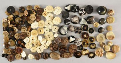 Lot de boutons en matières naturelles pour la Haute Couture, principalement de la...