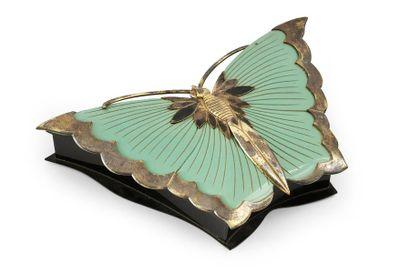 Grosse boite à bonbons en forme de papillon, galalithe, production d'Oyonnax pour...