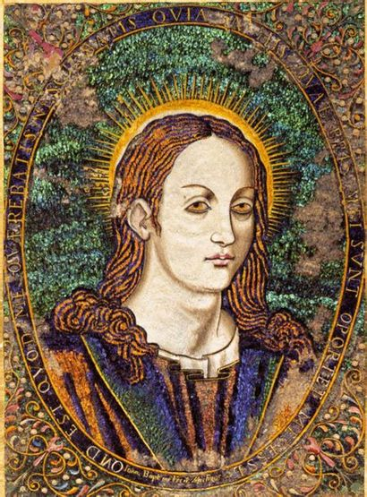 Tableau en plumes polychromes sur panneau représentant le Christ Bon Pasteur et...
