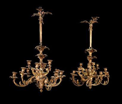 Paire de lustres en bronze doré à 12 lumières...