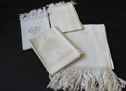 Sept serviettes de toilette, fin du XIXe...