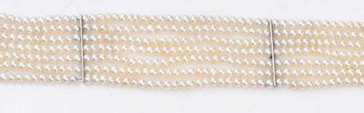 Bracelet en or gris 750e, composé de 7 rangs...