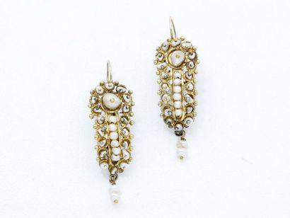 Paire de pendants d'oreilles en or 375 millièmes...