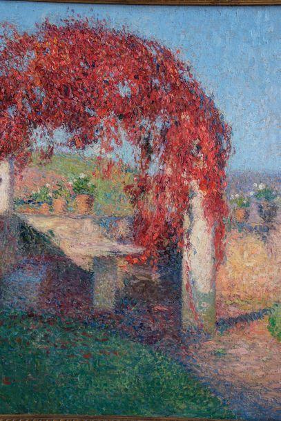 Henri MARTIN (1860-1943) Pergola à l'automne, Marquayrol Huile sur toile. Signée...