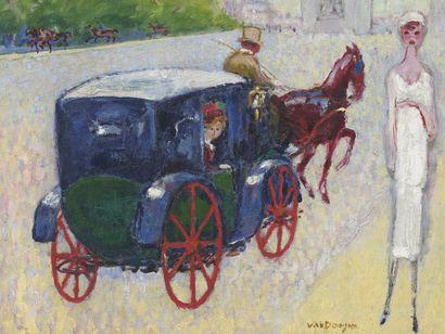 Kees VAN DONGEN (1877-1968) Avenue du bois de Boulogne Oil on canvas. Signed at the...