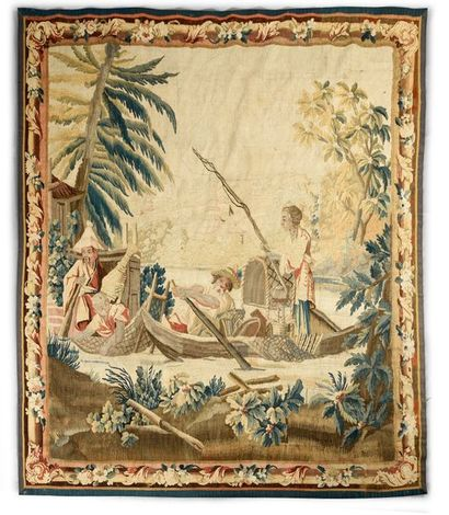 AUBUSSON La pêche chinoise. Tapisserie Manufacture Royale d'Aubusson, carton original...