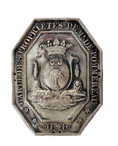 Plaque de garde des propriétés de Mr de Pommereau,...