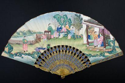 La joueuse de guzheng, vers 1820 Eventail...