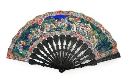 Combat, Chine, vers 1860 Eventail plié, la...
