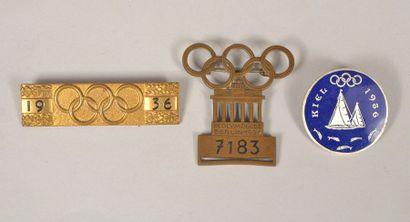 Ensemble de 3 badges. Participant, barrette et badge visiteur des épreuves de voile...