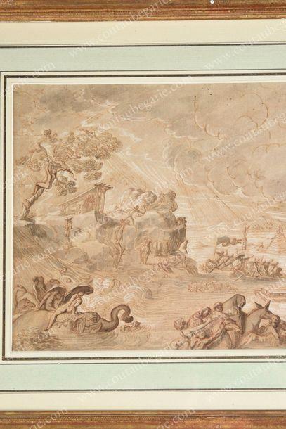 BREBIETTE PIERRE (c. 1598-1642) Le Déluge. Plume et encre brune sur traits de sanguine,...
