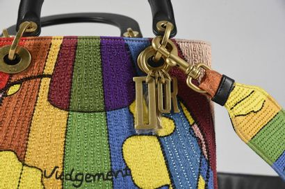CHRISTIAN DIOR, sac Lady Dior, Judgement édition Dior Lady Art 2018, en étamine...