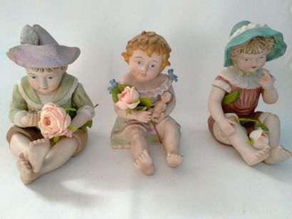 Porcelaine Allemande : 3 barboteurs circa...