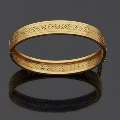 Bracelet jonc en or jaune, 18k 750‰, ouvrant,...