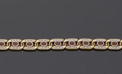 Bracelet souple en or gris, 18k 750‰, composé...
