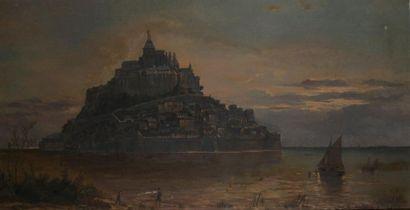 Pierre de CRISENOY (1827-1902)  Le mont Saint-Michel  Huile sur toile signée en...