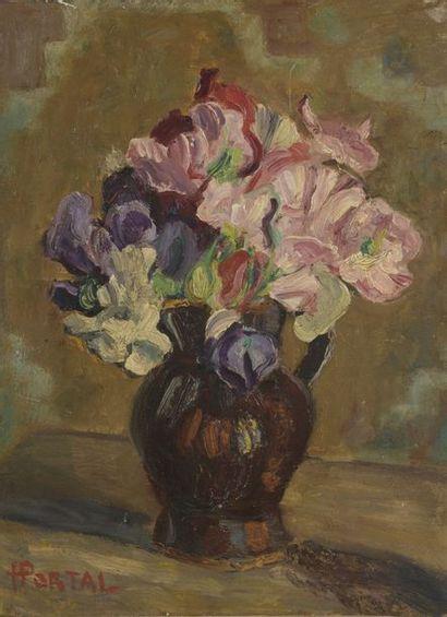 Henry PORTAL (1890-1982)  Bouquet de pois...