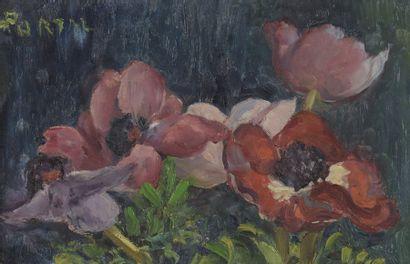 Henry PORTAL (1890-1982)  Anémones  Huile...