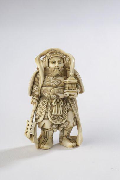 Netsuke en ivoire, Bishamon (roi gardien...