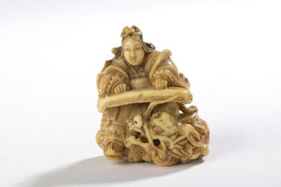 Netsuke en ivoire à patine jaune, Benten...
