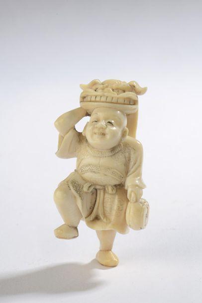 Netsuke en ivoire, danseur de shishimai,...