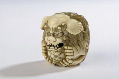Netsuke de forme ronde en ivoire, shishi...