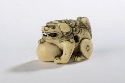 Netsuke en ivoire, shishi avec sa patte sur...