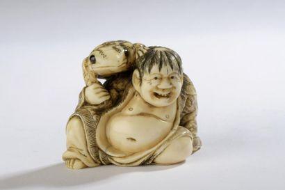 Netsuke en ivoire à patine jaune, Gamma Sennin...