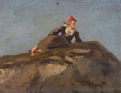Charles WISLIN (1852-1932)  Bretonne sur...