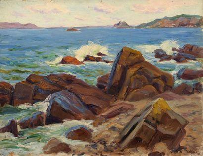 Charles WISLIN (1852-1932)  Vagues à Trestraou...