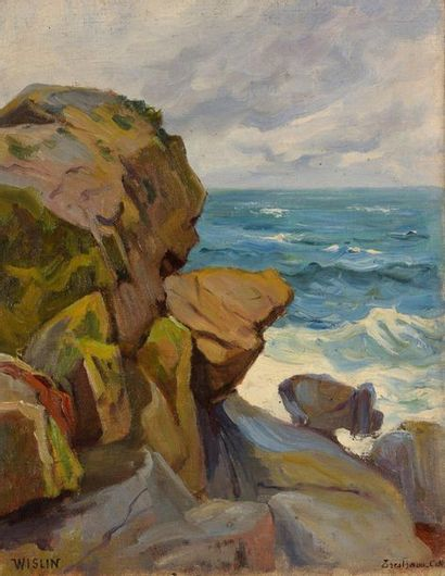 Charles WISLIN (1852-1932)  Côte rocheuse...