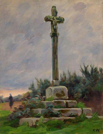 Charles WISLIN (1852-1932)  Le calvaire à...