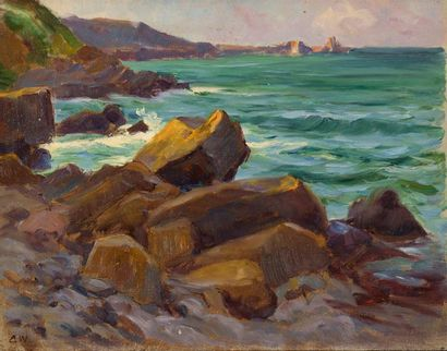 Charles WISLIN (1852-1932)  Côtes rocheuses...