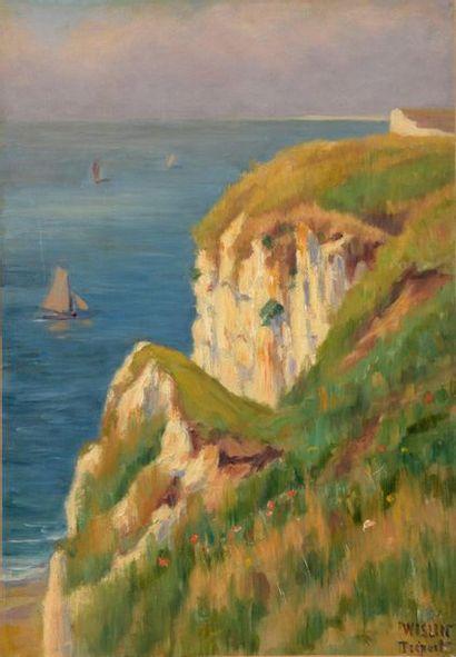 Charles WISLIN (1852-1932)  Falaise au Tréport...