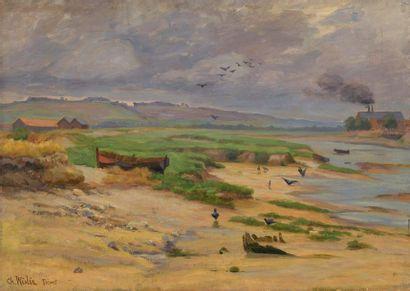 Charles WISLIN (1852-1932)  La retenue au...