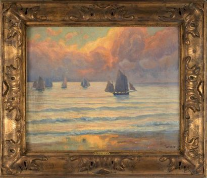 Charles WISLIN (1852-1932)  Retour de barques,...