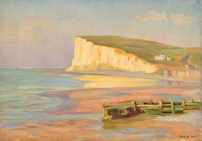 Charles WISLIN (1852-1932)  Vue des falaises...