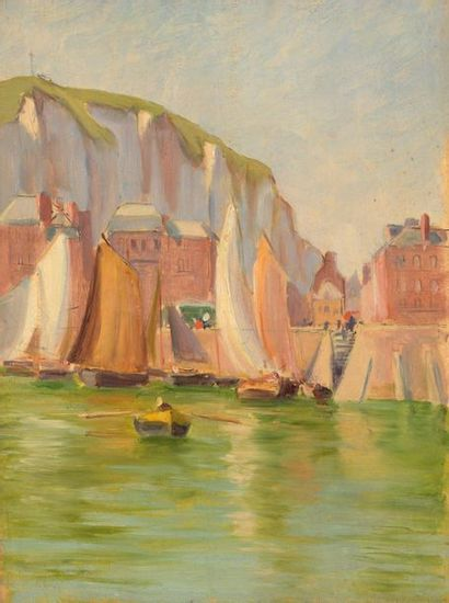 Charles WISLIN (1852-1932)  Voiliers à quai...