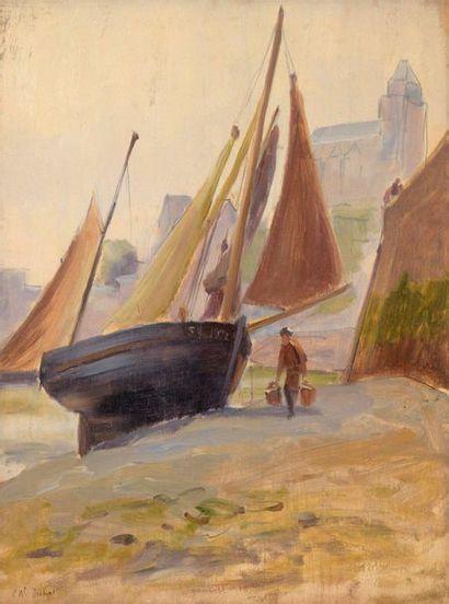 Charles WISLIN (1852-1932)  Marée-basse dans...