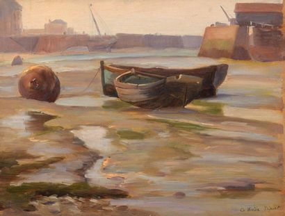 Charles WISLIN (1852-1932)  Barques à marée-basse...