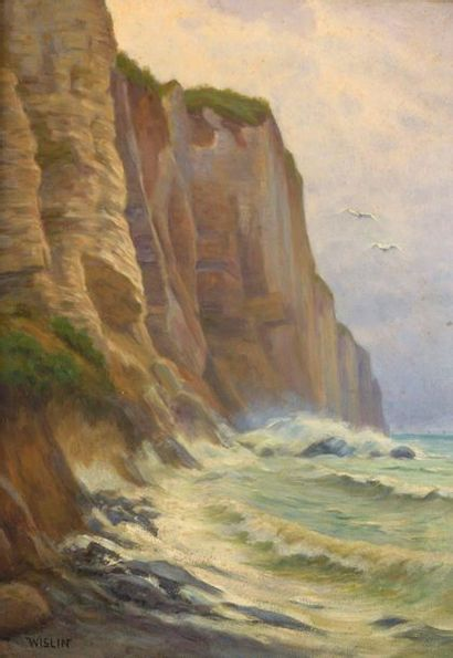 Charles WISLIN (1852-1932)  Les falaises...