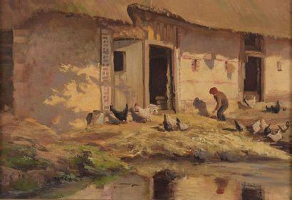 Charles WISLIN (1852-1932)  Ferme à Saint-Clerc...