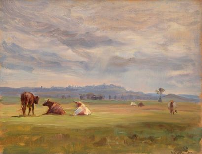 Charles WISLIN (1852-1932)  Les vaches à...