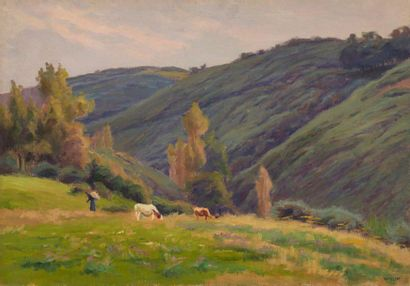 Charles WISLIN (1852-1932)  Vaches à Carolles,...