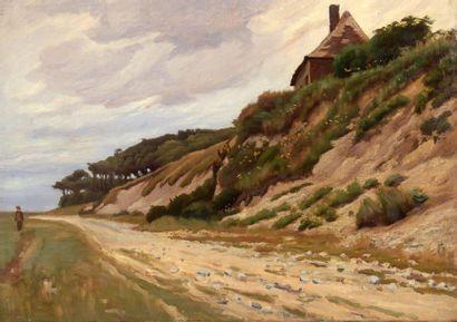 Charles WISLIN (1852-1932)  Promeneur à Saint-Valery-sur-Somme,...